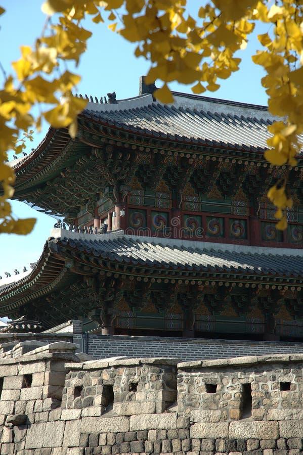 Koreanisches Stadttor mit Herbstblättern in Seoul lizenzfreie stockfotos