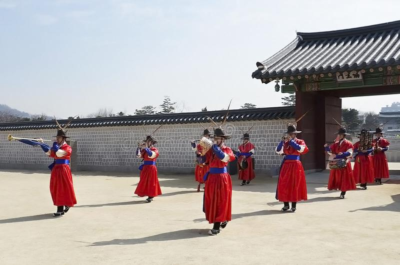 Koreans in old soldier costumes stock image