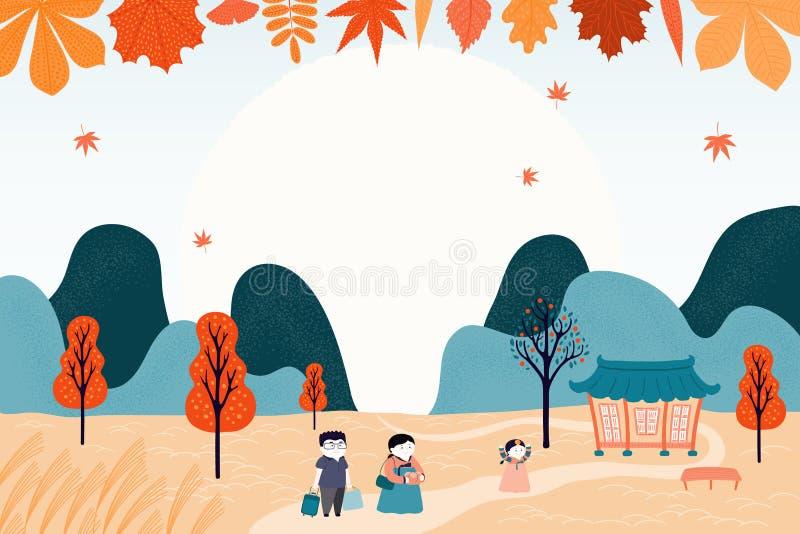 Koreansk ferieChuseok design royaltyfri illustrationer