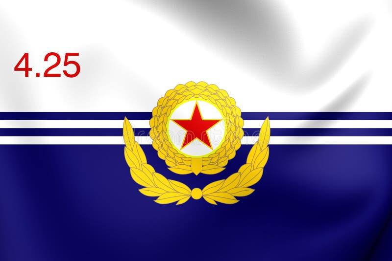 Koreansk flagga för sjö- styrka för armé för folk` s royaltyfri illustrationer