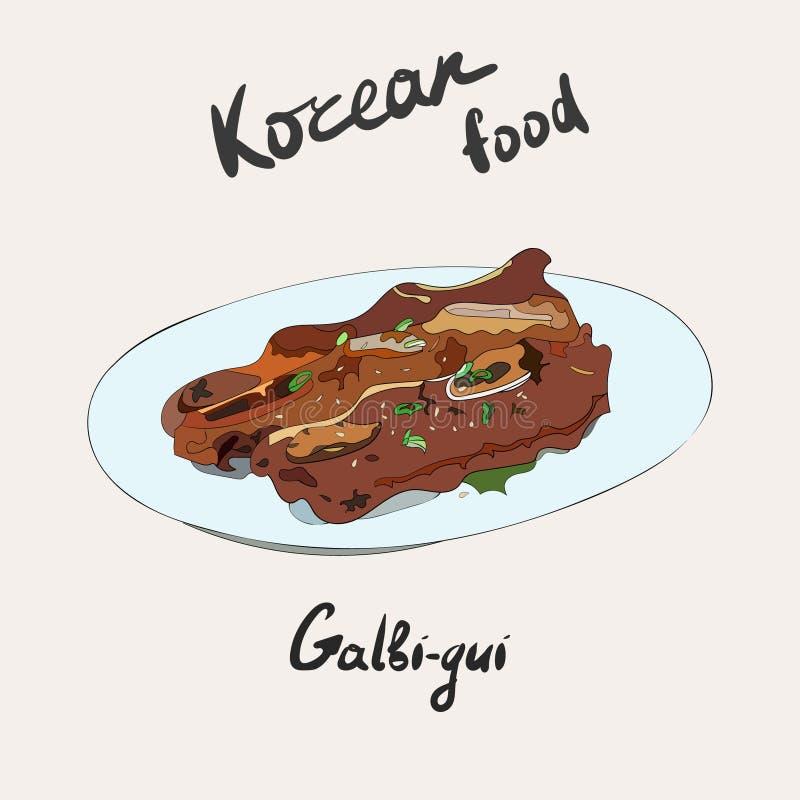 Koreansk grillfest, galbi, galbi-gui eller grillade stöd Traditionell koreansk sidomaträtt vektor illustrationer