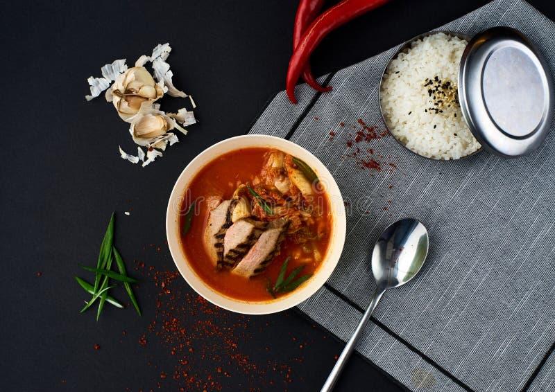 Koreansk kokkonst Kimchi soppa på svart bakgrund royaltyfri fotografi