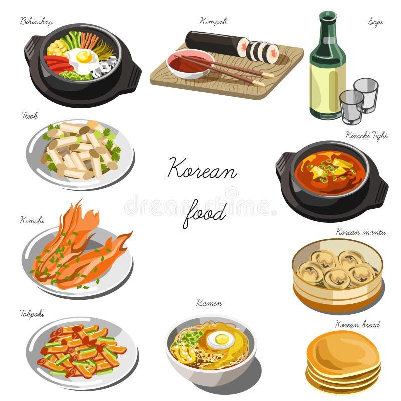 Koreansk kokkonstuppsättning Samling av matdisk stock illustrationer