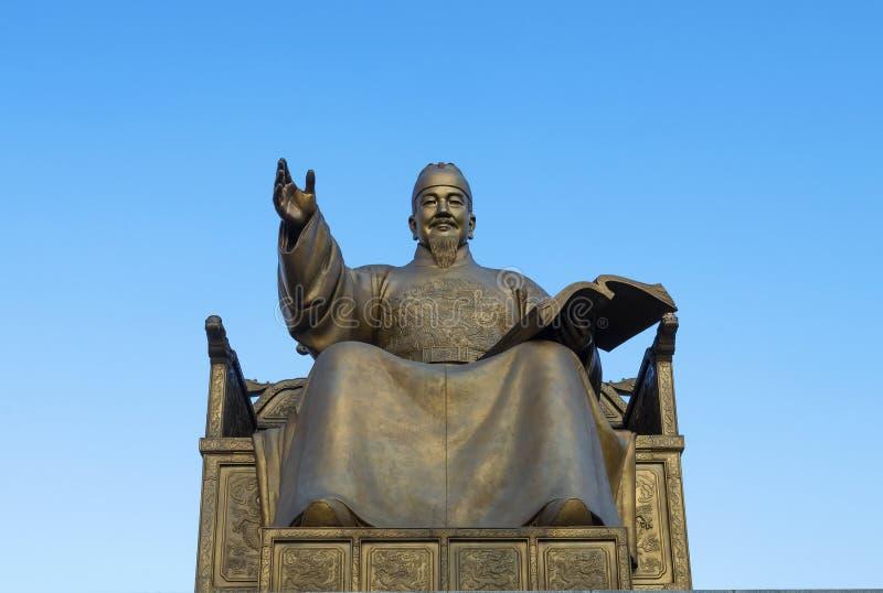 Koreansk konung Sejong för staty på den Gwanghwamun fyrkanten i Seoul, Sydkorea arkivbilder