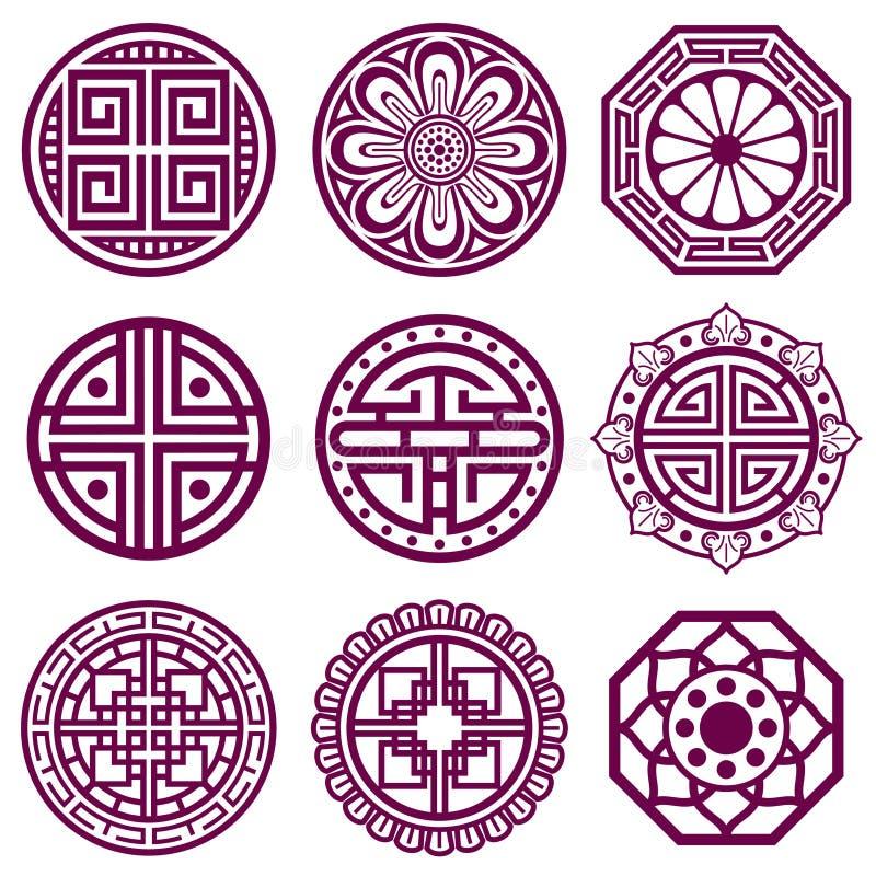 Koreansk prydnad, asiatiska traditionella vektorsymboler, badrummodell stock illustrationer