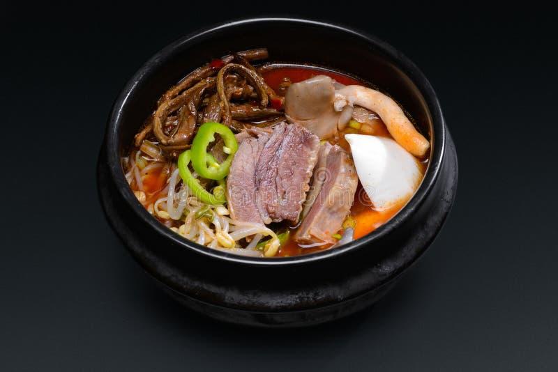 Koreansk soppa med kött och champinjoner arkivbilder