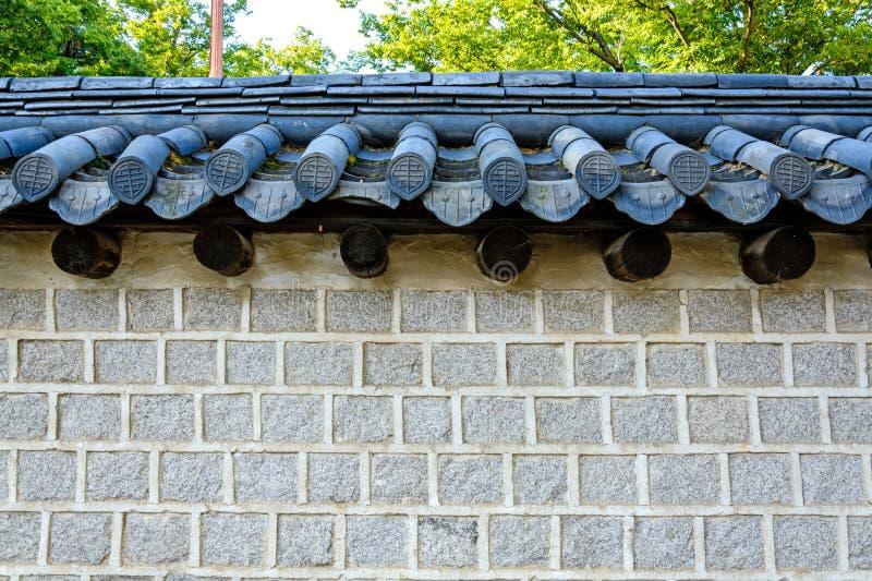 Koreansk stiltegelstenvägg arkivfoton