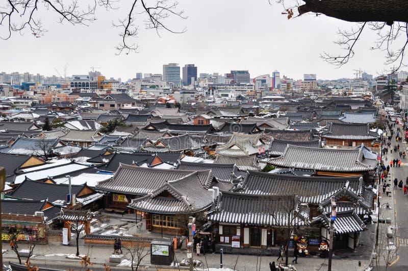 Koreanskt traditionellt hus, Jeonju Hanok by fotografering för bildbyråer