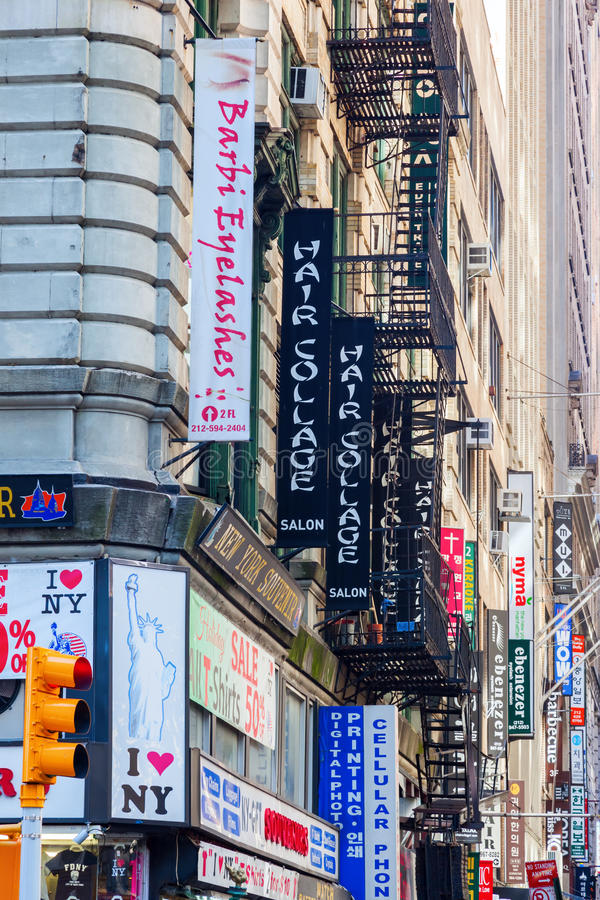 Koreatown in Manhattan, NYC. New York City, USA - October 06,2015: building at -Korea Way- on West 32nd Street in Manhattans Koreatown. Korea Way features stores royalty free stock photography