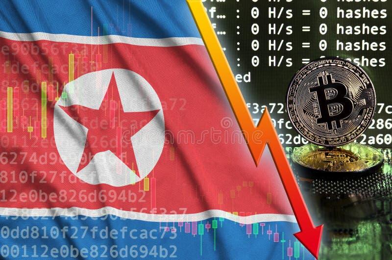 Korei Północnej chorągwiana, spada czerwona strzała na i fotografia stock