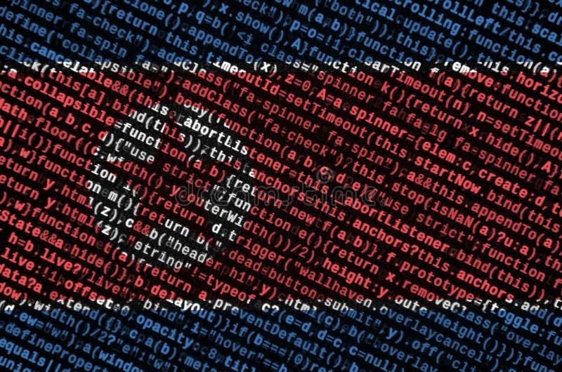 Korei Północnej flaga przedstawia na ekranie z programa kodem Pojęcie nowożytny technologii i miejsca rozwój royalty ilustracja