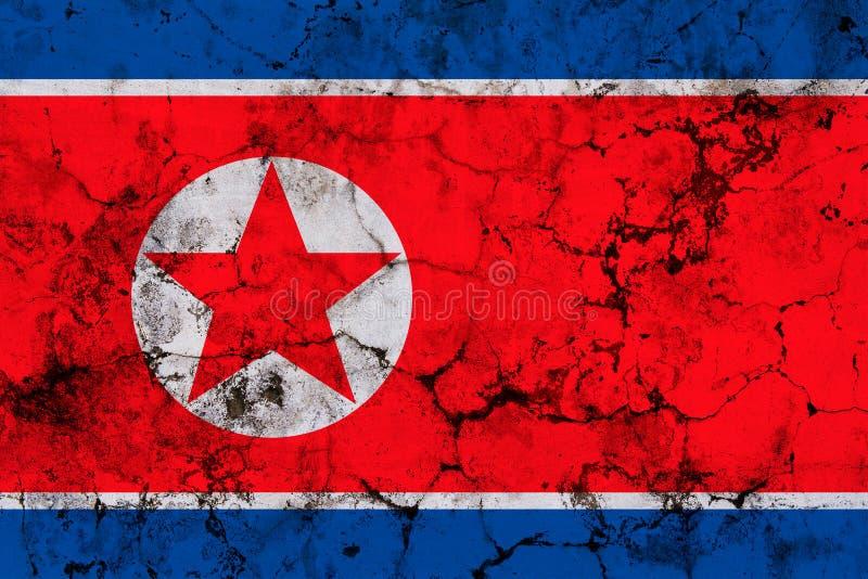 Korei Północnej grunge chorągwiana tekstura obraz stock