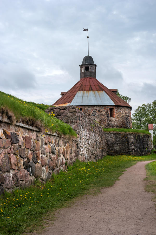 Korela fortress is a stone fortress in the town of Priozersk, on the island of the river Vuoksi. royalty free stock image
