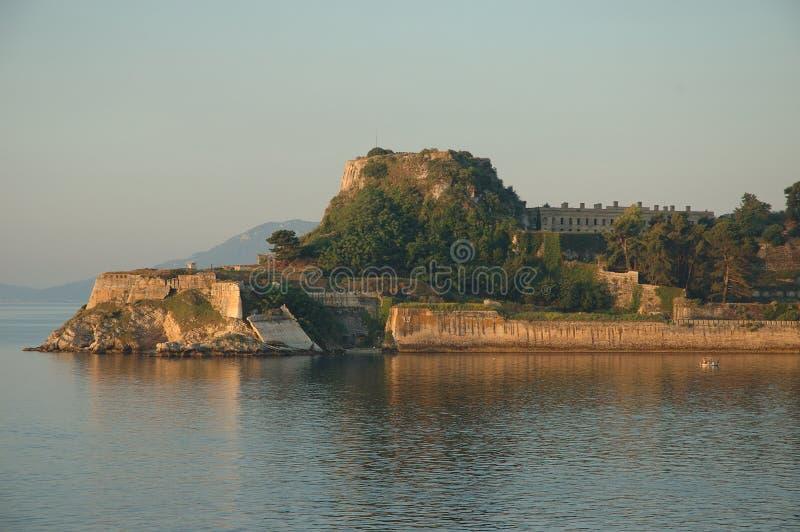 Korfu gammal fästningudde, Grekland royaltyfria foton