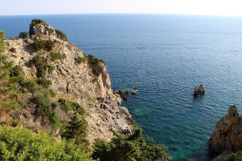 Korfu havskust arkivfoton