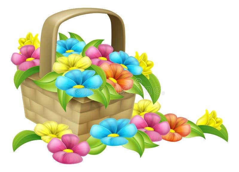 Korg av blommadesignen royaltyfri illustrationer