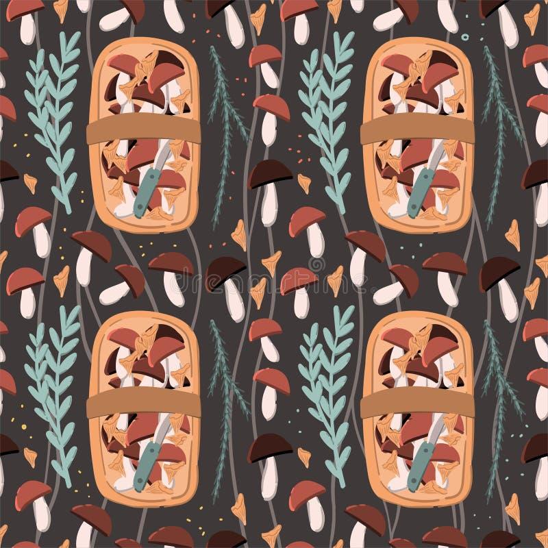 Korg av för klotterstil för champinjoner, för sidor och för örter den sömlösa modellen bakgrund tecknad hand royaltyfri illustrationer