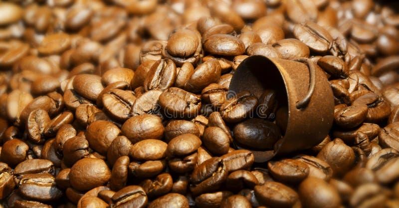 Korg av grillade kaffebönor royaltyfri bild