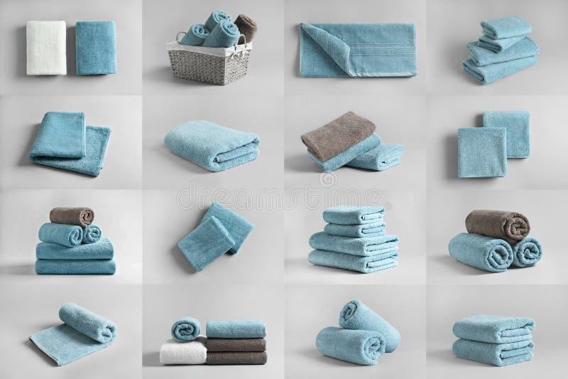 Korg av nya handdukar royaltyfria foton