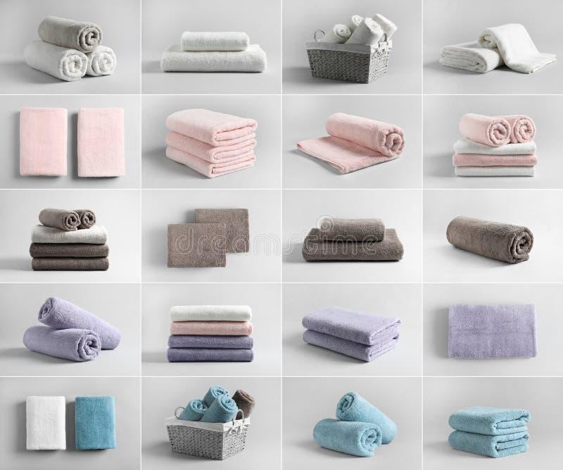Korg av nya handdukar arkivbilder