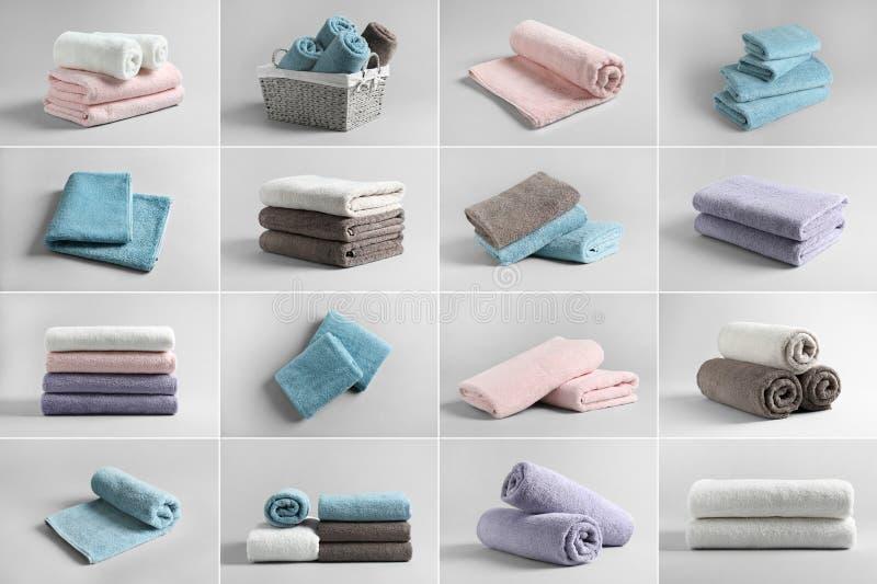 Korg av nya handdukar royaltyfria bilder