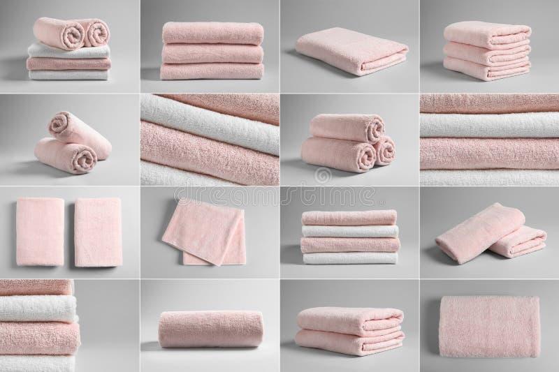 Korg av nya handdukar royaltyfri bild