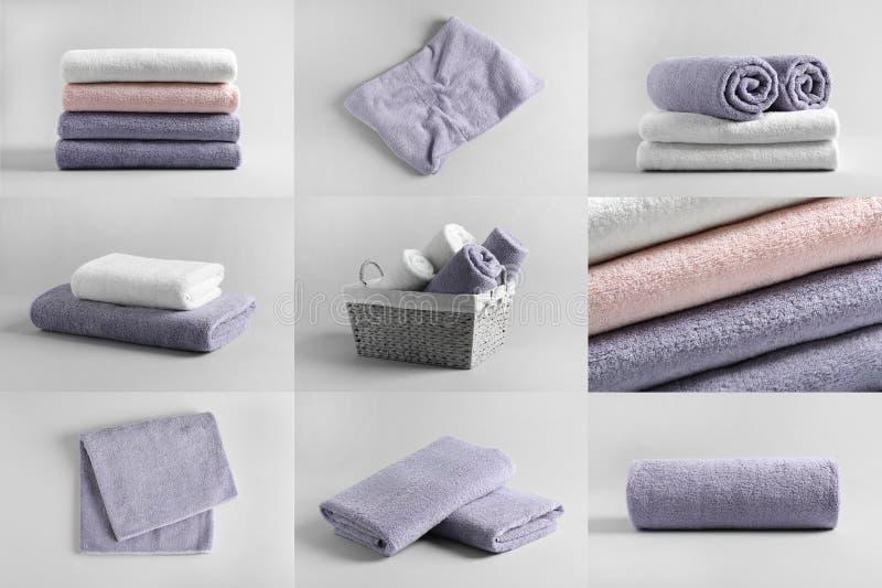 Korg av nya handdukar arkivfoto