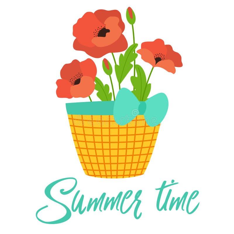 Korg av sommarvallmo Vektormall för hälsningkortet, baner, vykort, affisch vektor illustrationer