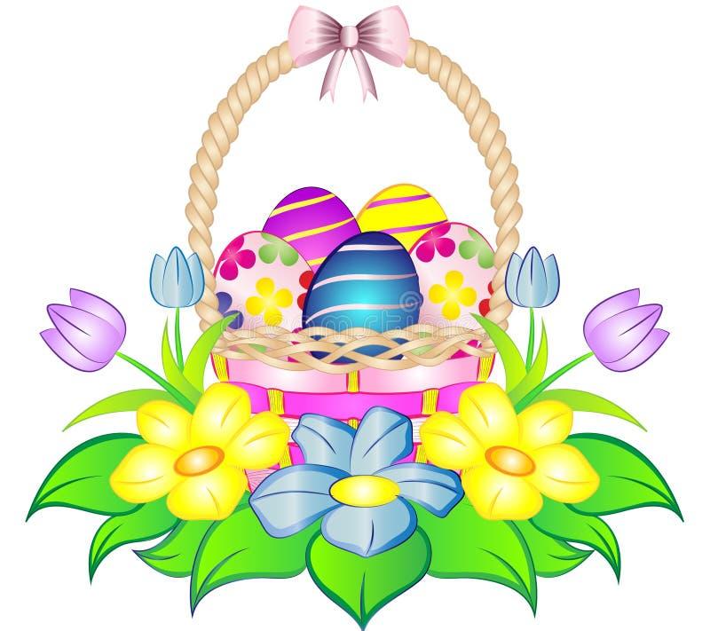Korg för påskägg med blommor stock illustrationer