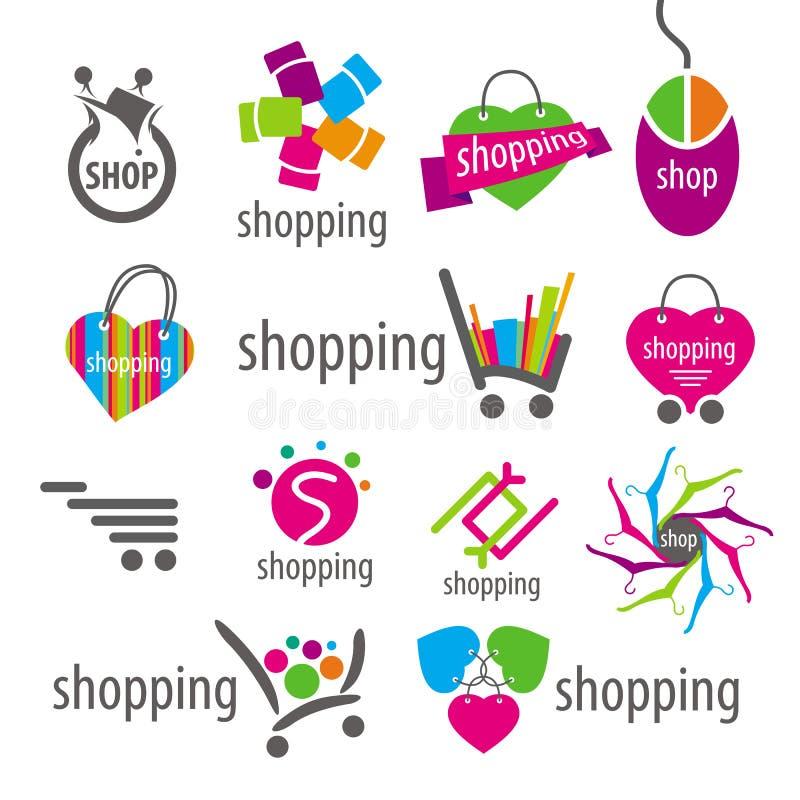 Korg för vektorlogo- och shoppingrabatter royaltyfri illustrationer