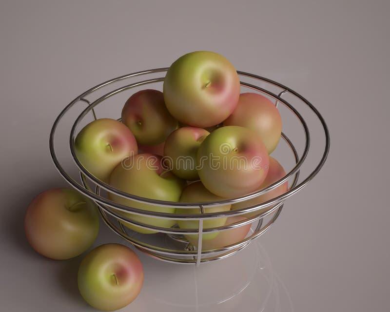 Korg med äpplen arkivfoto