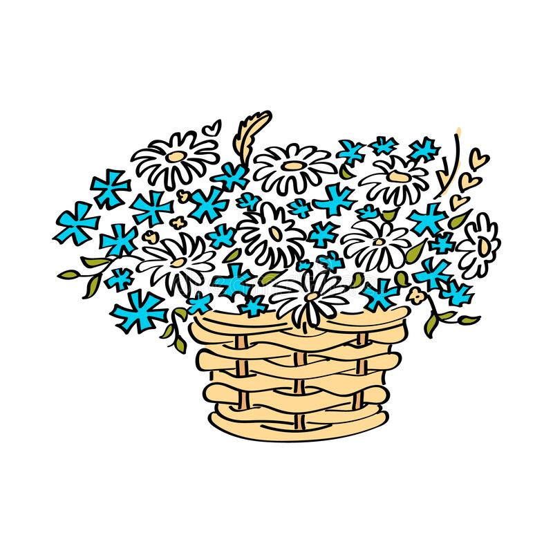 Korg med blommor som isoleras p? vit bakgrund Illustration f?r vektorn?rbildtecknad film stock illustrationer
