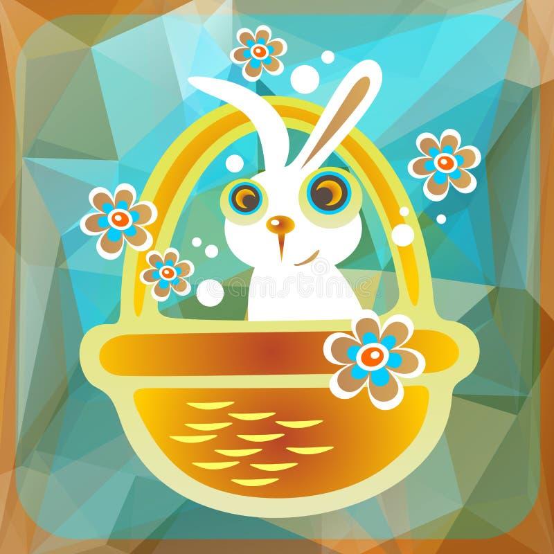 Korg med easter kanin royaltyfri illustrationer