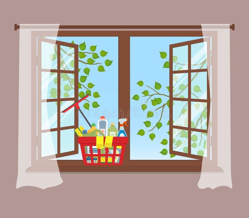 Korg med tvättmedel på fönsterbrädan svampar för flytande för cleaningbegreppsdishwashing royaltyfri illustrationer