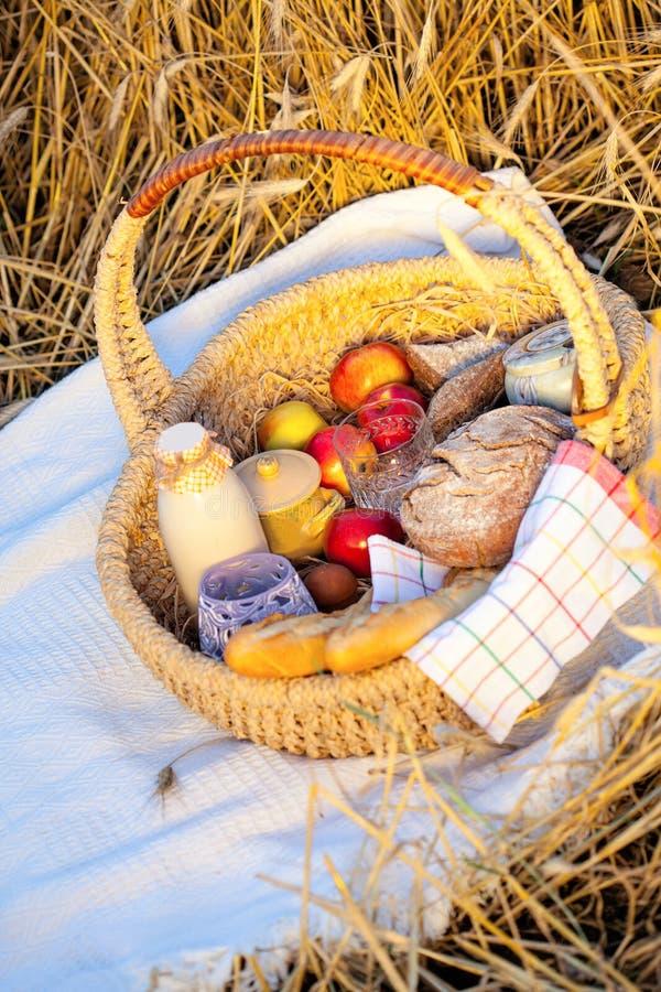 Korg mycket av äpplen, bröd och att mjölka arkivbilder