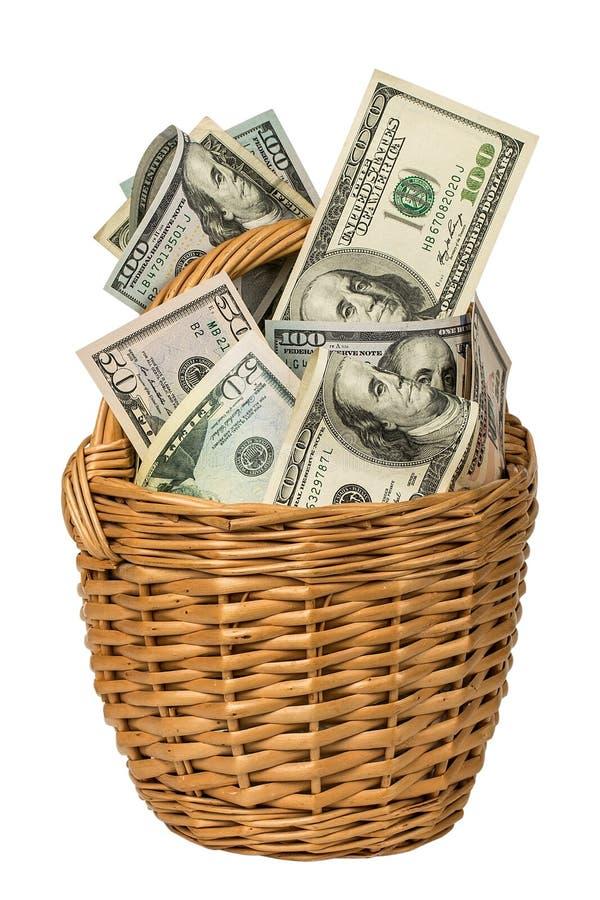 korg mycket av pengar som isoleras på vit bakgrund royaltyfri bild