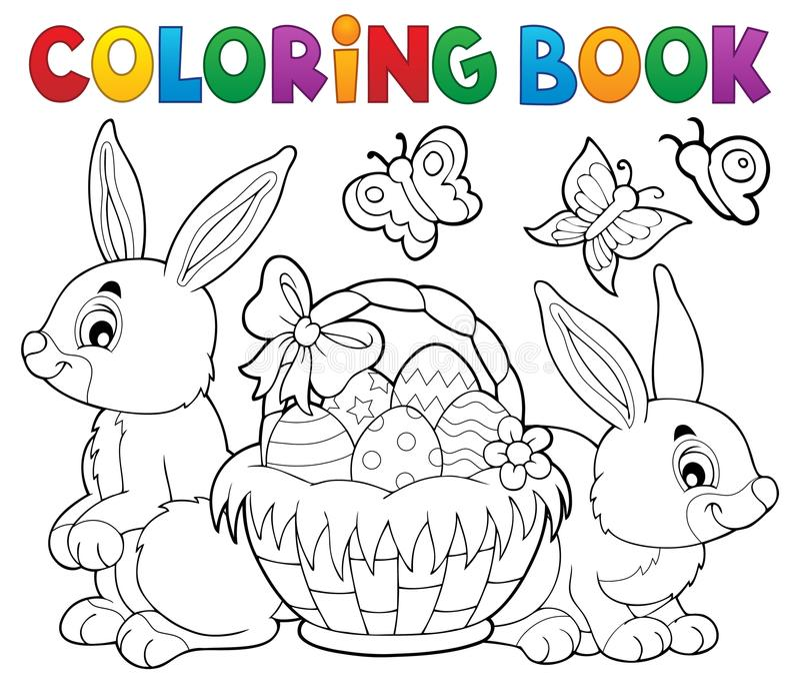 Korg och kaniner för påsk för färgläggningbok vektor illustrationer