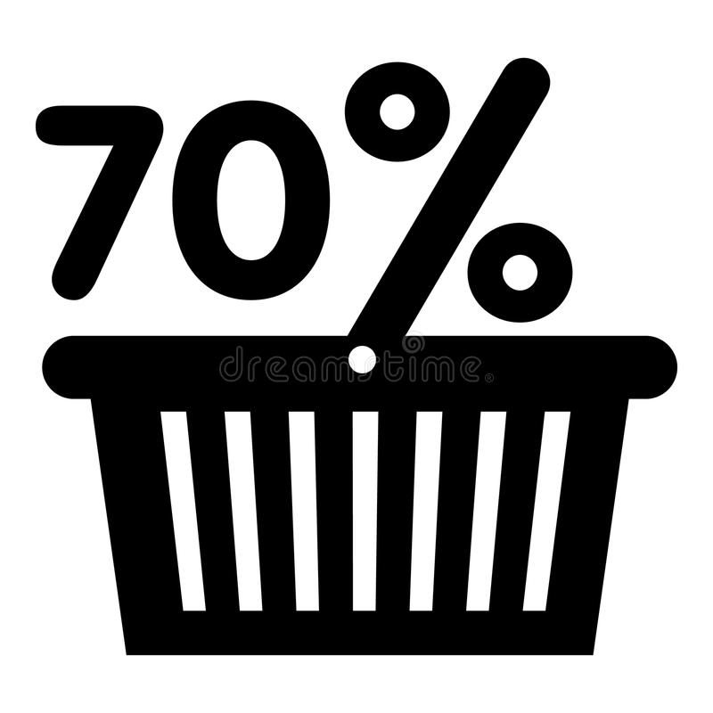Korg sjuttio procent rabattsymbol, enkel stil royaltyfri illustrationer
