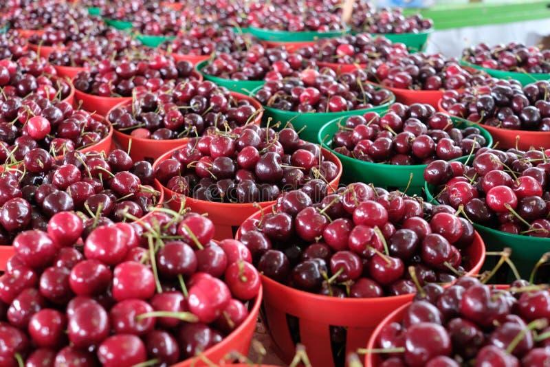 Korgar av röda körsbär royaltyfri fotografi