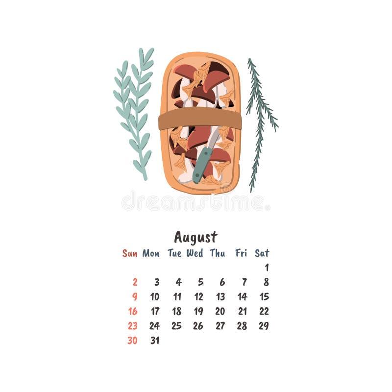 Korgen med champinjoner klottrar den utdragna illustrationen för stilhanden För kalendermall för vägg eller för skrivbord månatli royaltyfri illustrationer