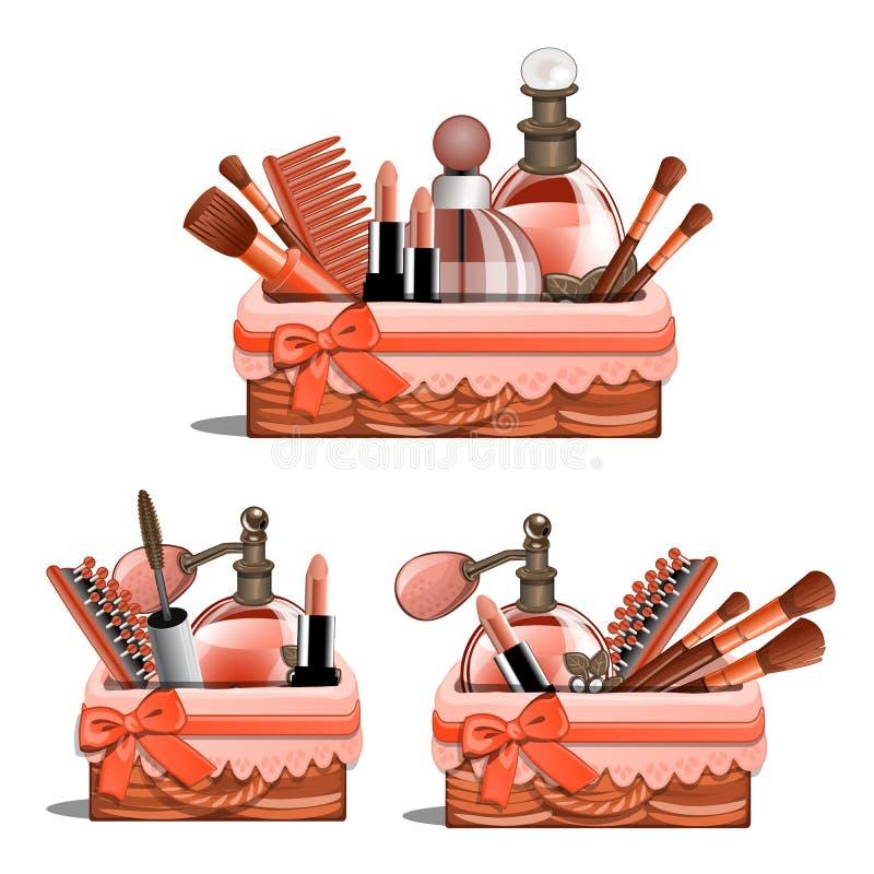 Korgen med makeup borstar, läppstift, doft stock illustrationer