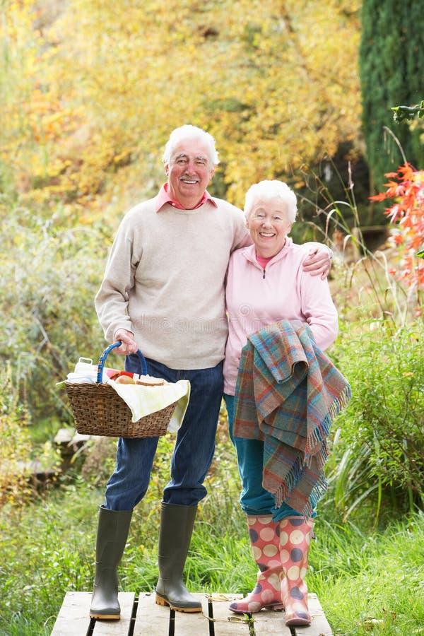 korgpar har picknick utomhus pensionären arkivfoton