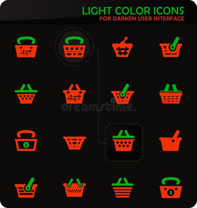 Korgsymbolsuppsättning stock illustrationer