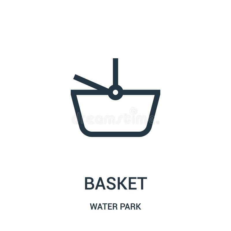 korgsymbolsvektorn från vatten parkerar samlingen Tunn linje illustration för vektor för korgöversiktssymbol Linjärt symbol för b royaltyfri illustrationer