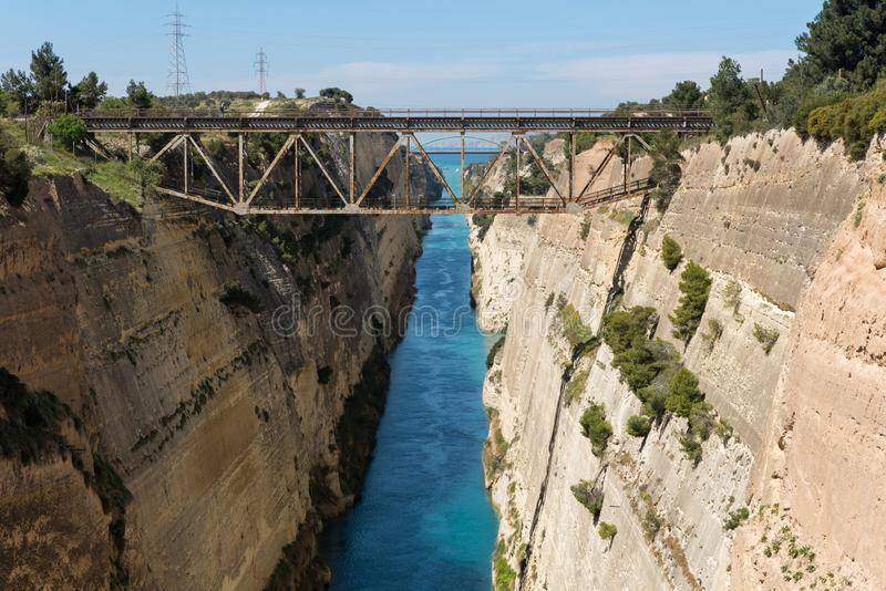 Korinth Bridge in Greece. Corinth Canal in Greece, Europe stock images