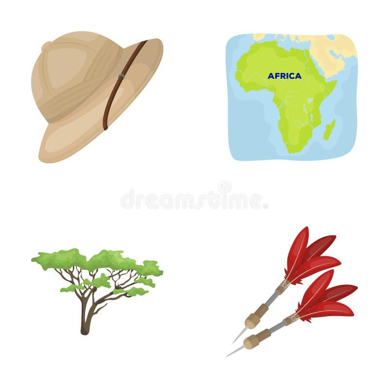 Korka hatten, pilar, savannahträdet, territoriumöversikt Afrikanska symboler för safariuppsättningsamling i materiel för symbol f stock illustrationer