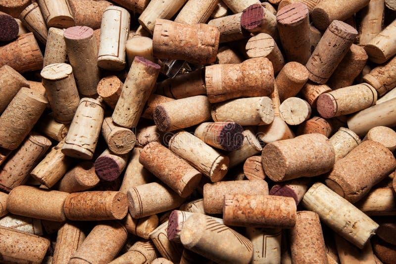 Korkarna av vinrankaflasktextur arkivfoto