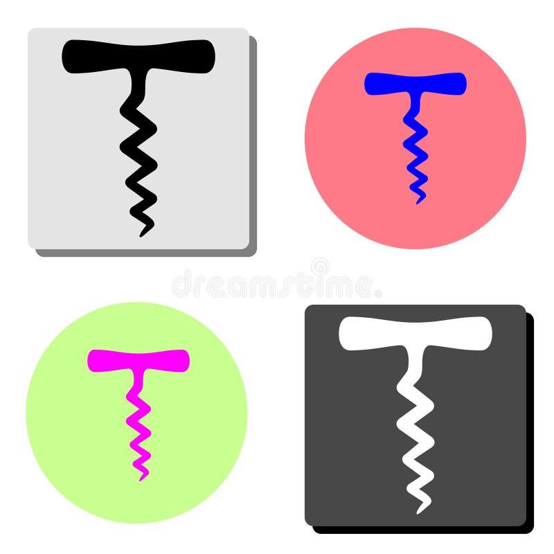 korkskruv Plan vektorsymbol royaltyfria bilder
