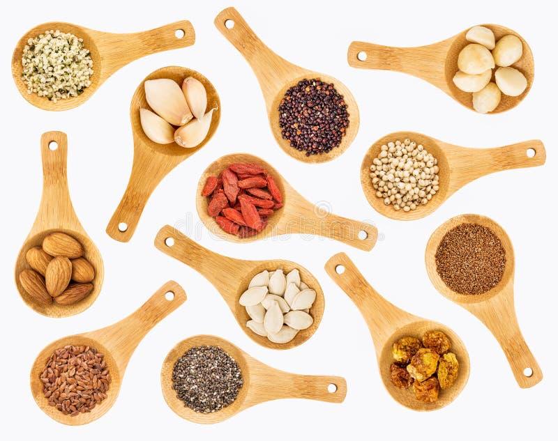 Korn-, Samen-, Beeren- und Nusszusammenfassung Superfood stockfoto