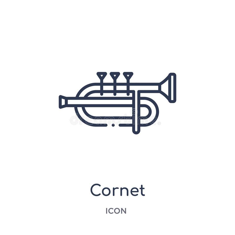 Kornet ikona od muzycznej kontur kolekcji Cienieje kreskową kornet ikonę odizolowywającą na białym tle royalty ilustracja